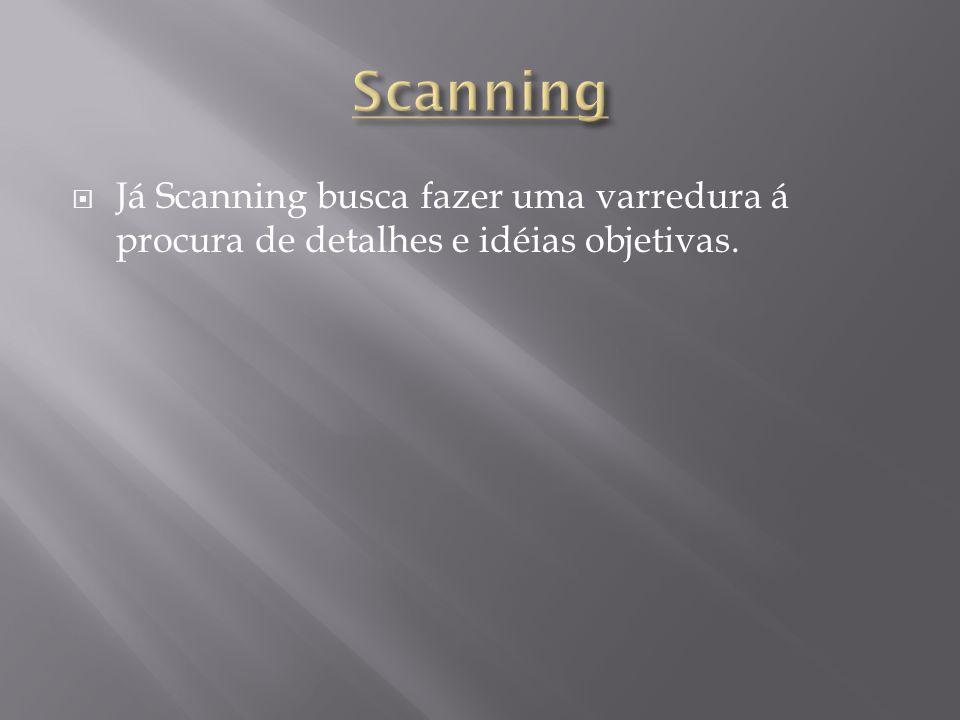  Já Scanning busca fazer uma varredura á procura de detalhes e idéias objetivas.