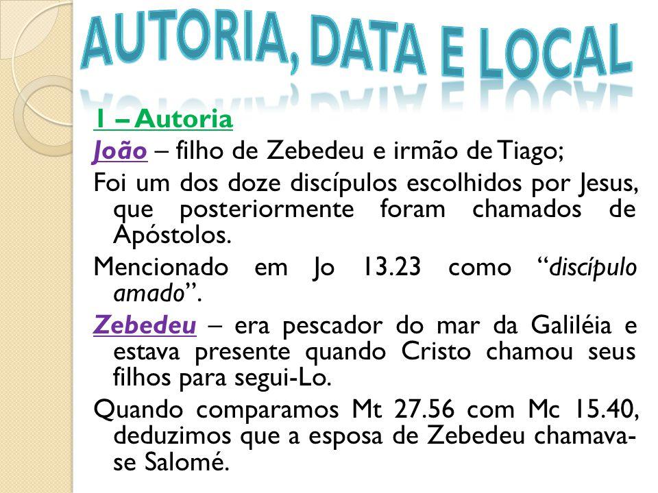 1 – Autoria João – filho de Zebedeu e irmão de Tiago; Foi um dos doze discípulos escolhidos por Jesus, que posteriormente foram chamados de Apóstolos.