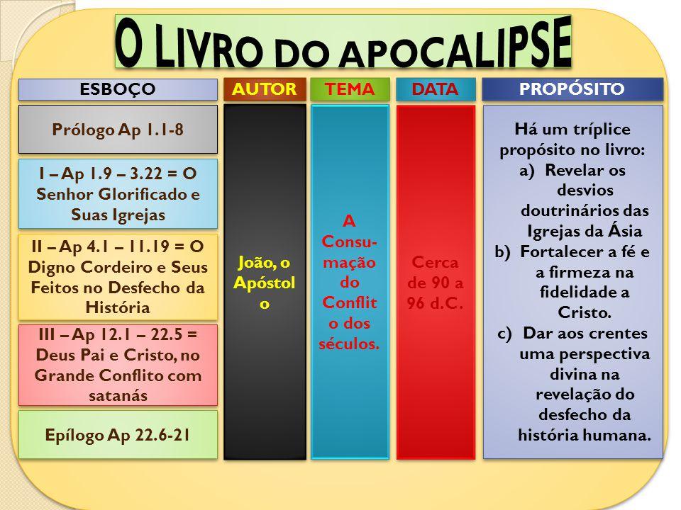 ESBOÇO Prólogo Ap 1.1-8 I – Ap 1.9 – 3.22 = O Senhor Glorificado e Suas Igrejas II – Ap 4.1 – 11.19 = O Digno Cordeiro e Seus Feitos no Desfecho da Hi