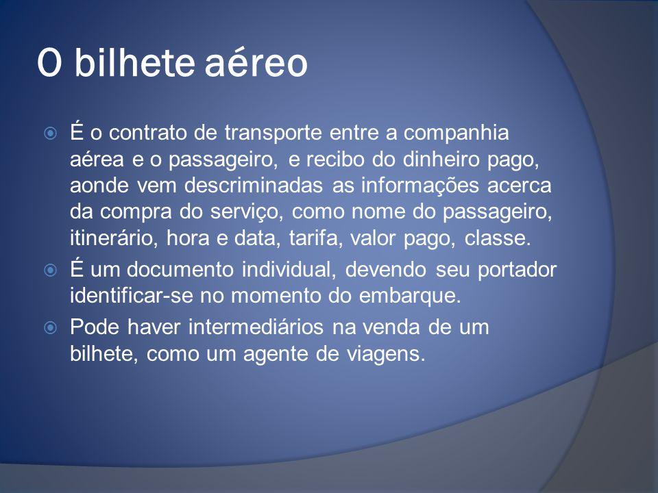 O bilhete aéreo  É o contrato de transporte entre a companhia aérea e o passageiro, e recibo do dinheiro pago, aonde vem descriminadas as informações