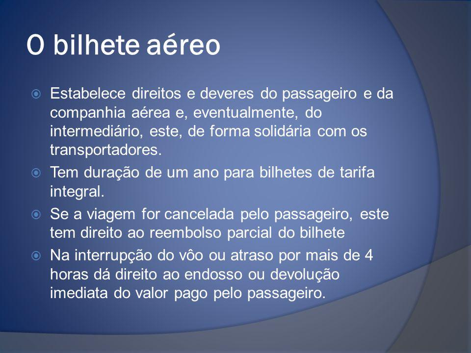 O bilhete aéreo  Estabelece direitos e deveres do passageiro e da companhia aérea e, eventualmente, do intermediário, este, de forma solidária com os