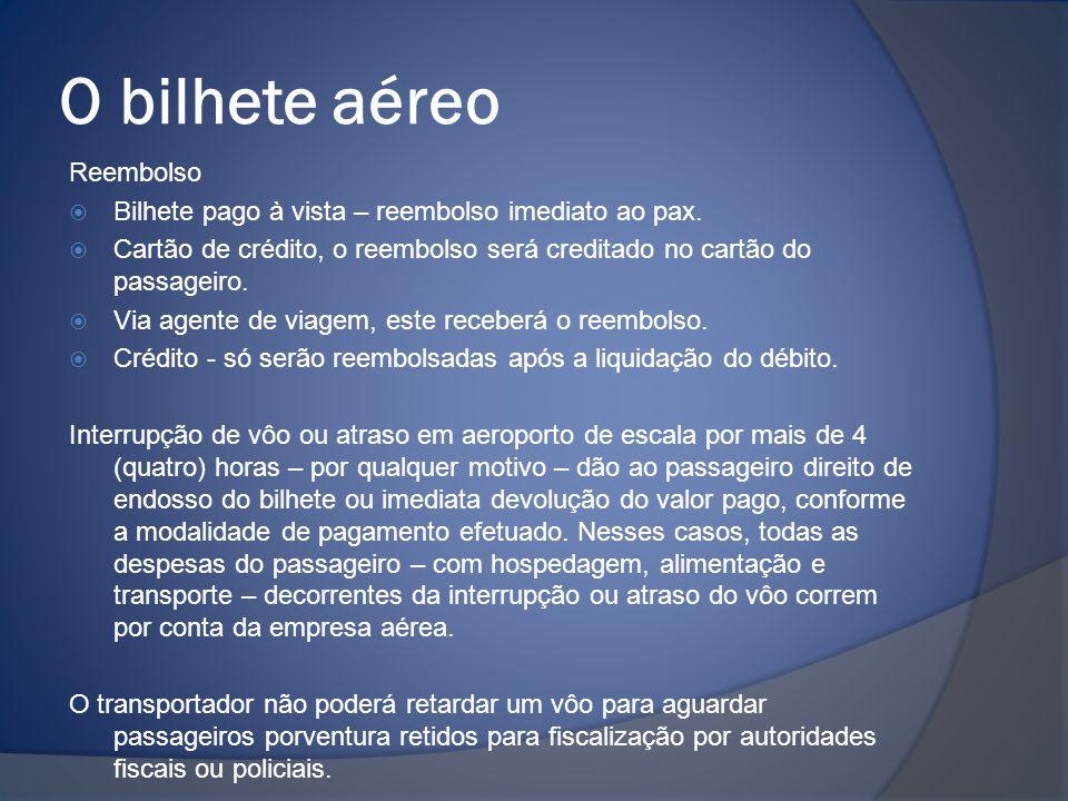 O bilhete aéreo Reembolso  Bilhete pago à vista – reembolso imediato ao pax.  Cartão de crédito, o reembolso será creditado no cartão do passageiro.