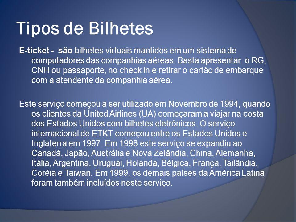 Tipos de Bilhetes E-ticket - são bilhetes virtuais mantidos em um sistema de computadores das companhias aéreas. Basta apresentar o RG, CNH ou passapo