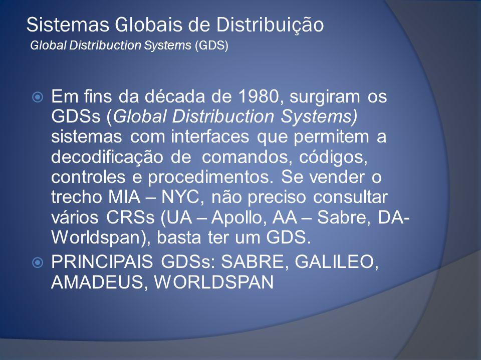 Sistemas Globais de Distribuição Global Distribuction Systems (GDS)  Em fins da década de 1980, surgiram os GDSs (Global Distribuction Systems) siste