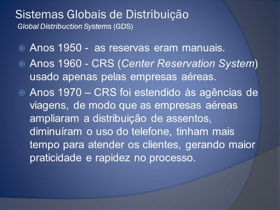Sistemas Globais de Distribuição Global Distribuction Systems (GDS)  Anos 1950 - as reservas eram manuais.  Anos 1960 - CRS (Center Reservation Syst