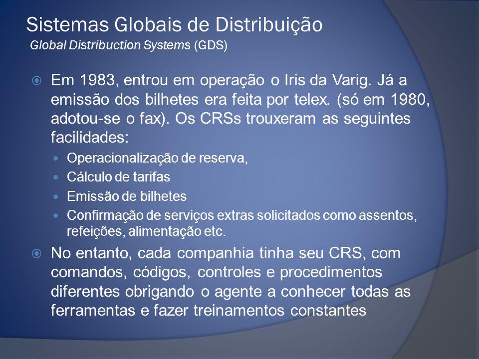 Sistemas Globais de Distribuição Global Distribuction Systems (GDS)  Em 1983, entrou em operação o Iris da Varig. Já a emissão dos bilhetes era feita
