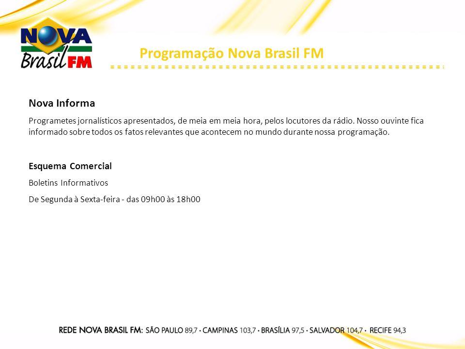 Programação Nova Brasil FM Nova Informa Programetes jornalísticos apresentados, de meia em meia hora, pelos locutores da rádio. Nosso ouvinte fica inf