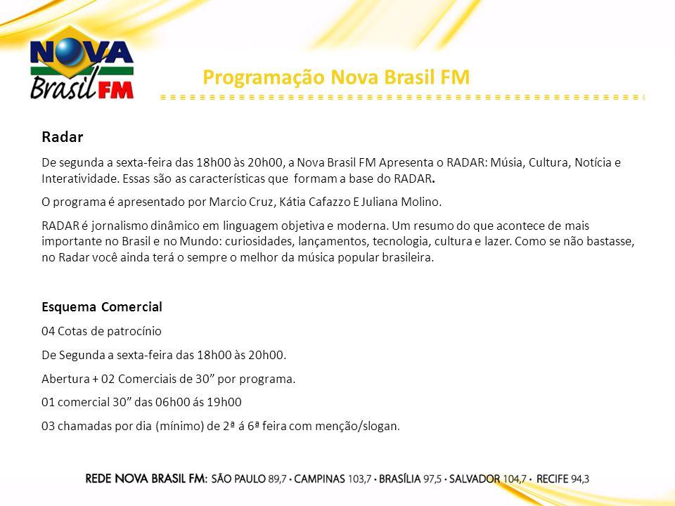 Programação Nova Brasil FM Radar De segunda a sexta-feira das 18h00 às 20h00, a Nova Brasil FM Apresenta o RADAR: Músia, Cultura, Notícia e Interativi