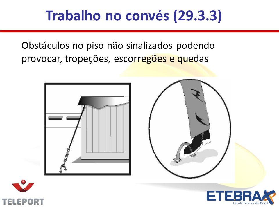 Trabalho no convés (29.3.3) Obstáculos no piso não sinalizados podendo provocar, tropeções, escorregões e quedas