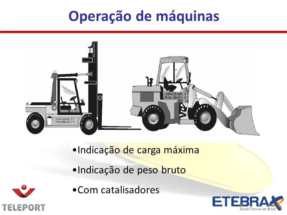 Operação de máquinas •Indicação de carga máxima •Indicação de peso bruto •Com catalisadores