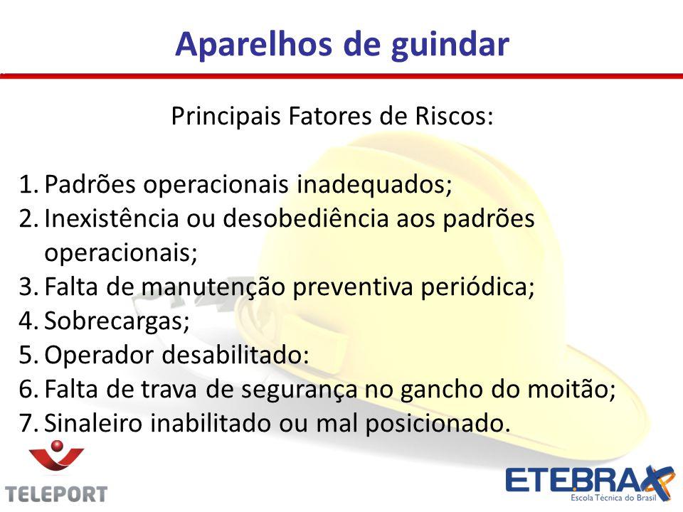 Aparelhos de guindar Principais Fatores de Riscos: 1.Padrões operacionais inadequados; 2.Inexistência ou desobediência aos padrões operacionais; 3.Fal