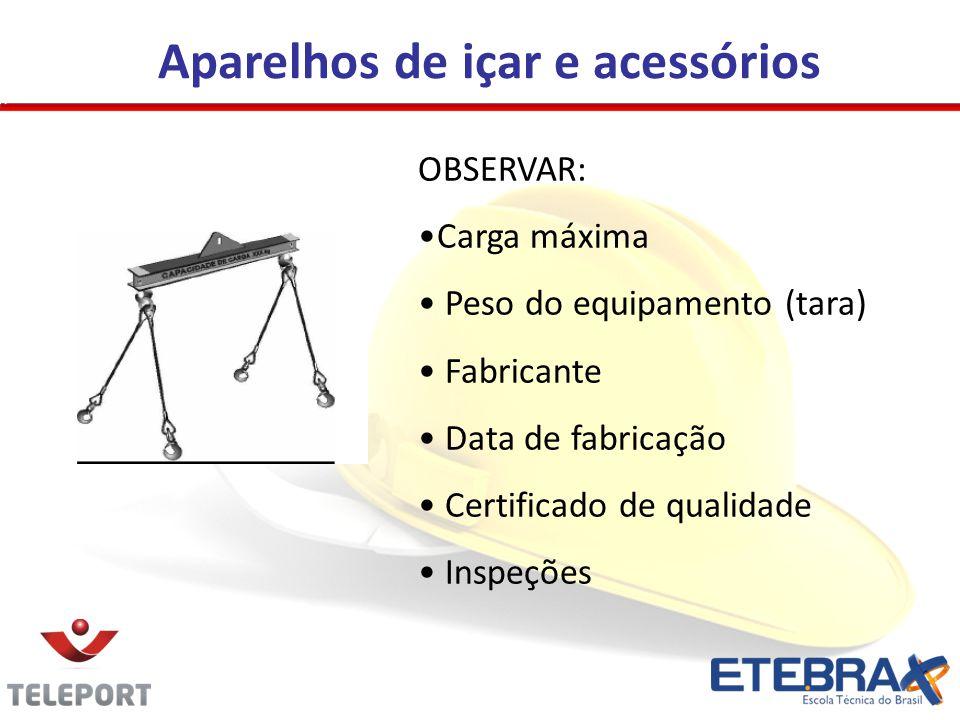 Aparelhos de içar e acessórios OBSERVAR: •Carga máxima • Peso do equipamento (tara) • Fabricante • Data de fabricação • Certificado de qualidade • Inspeções