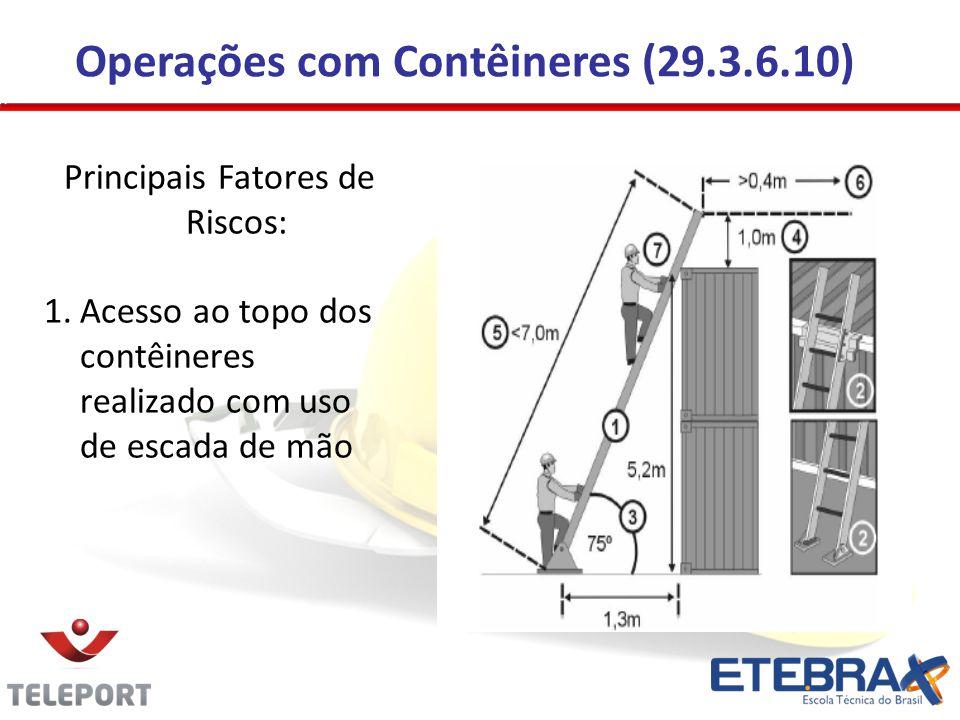 Operações com Contêineres (29.3.6.10) Principais Fatores de Riscos: 1.Acesso ao topo dos contêineres realizado com uso de escada de mão