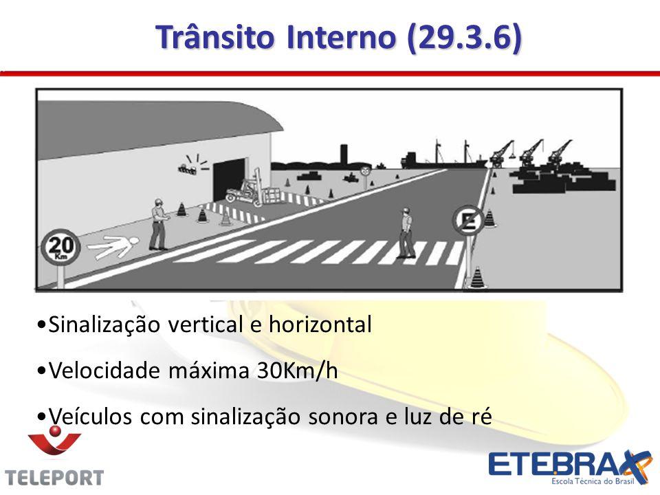 Trânsito Interno (29.3.6) •Sinalização vertical e horizontal •Velocidade máxima 30Km/h •Veículos com sinalização sonora e luz de ré