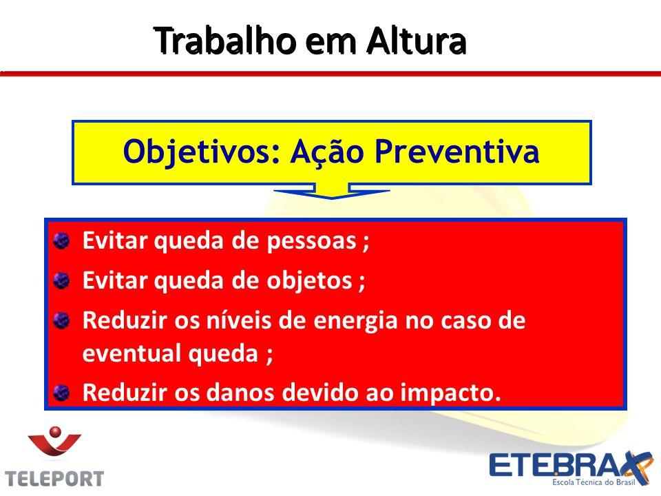 Evitar queda de pessoas ; Evitar queda de objetos ; Reduzir os níveis de energia no caso de eventual queda ; Reduzir os danos devido ao impacto.