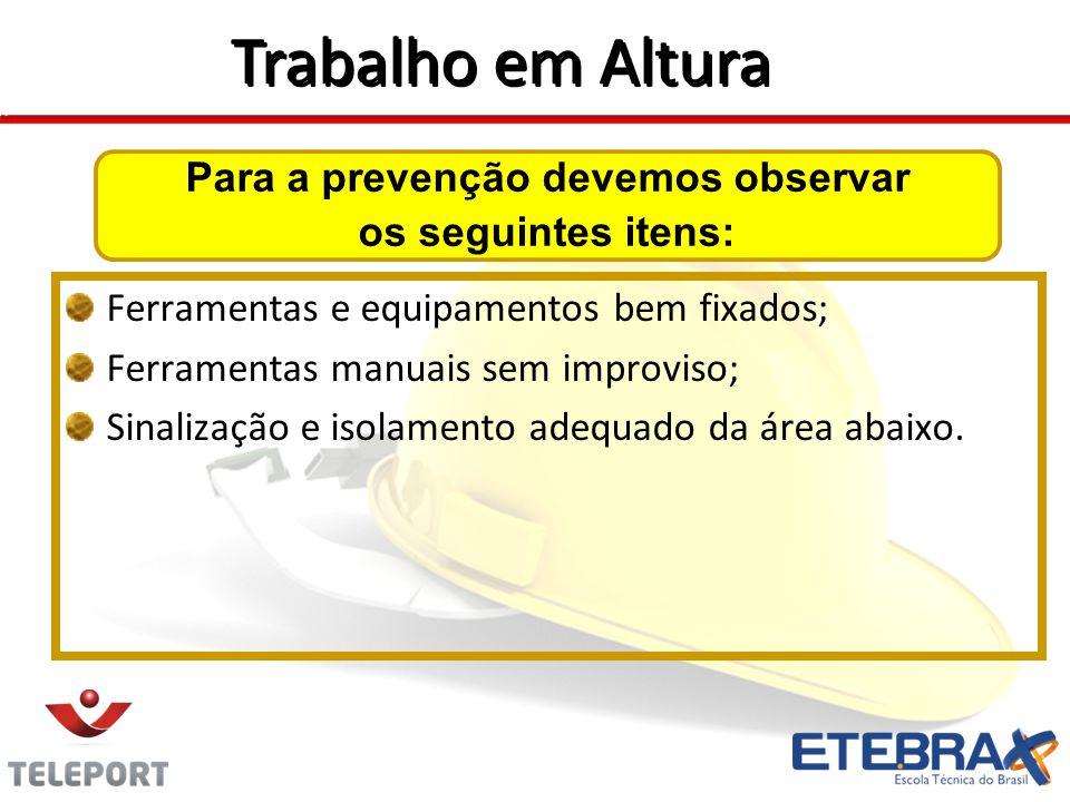 Para a prevenção devemos observar os seguintes itens: Ferramentas e equipamentos bem fixados; Ferramentas manuais sem improviso; Sinalização e isolamento adequado da área abaixo.