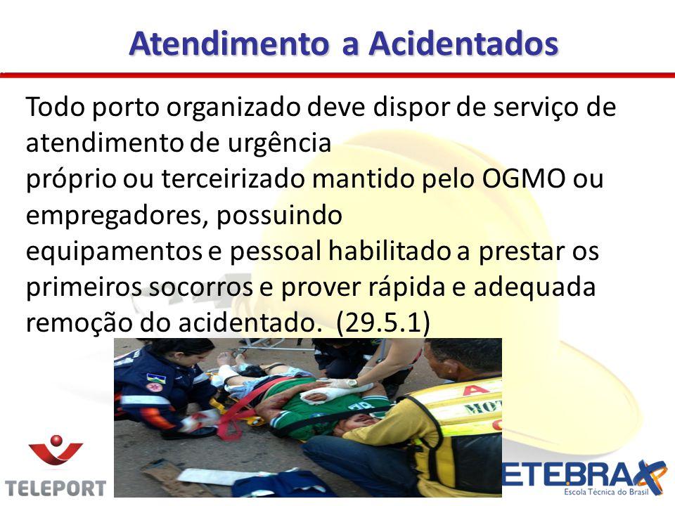 Atendimento a Acidentados Todo porto organizado deve dispor de serviço de atendimento de urgência próprio ou terceirizado mantido pelo OGMO ou emprega