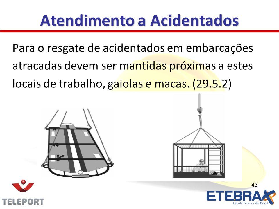 Atendimento a Acidentados Para o resgate de acidentados em embarcações atracadas devem ser mantidas próximas a estes locais de trabalho, gaiolas e mac