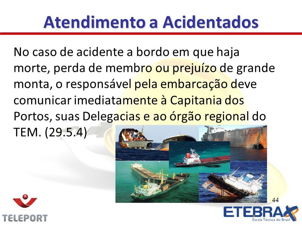 Atendimento a Acidentados No caso de acidente a bordo em que haja morte, perda de membro ou prejuízo de grande monta, o responsável pela embarcação de