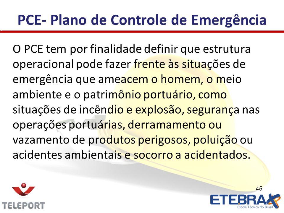 PCE- Plano de Controle de Emergência O PCE tem por finalidade definir que estrutura operacional pode fazer frente às situações de emergência que ameac