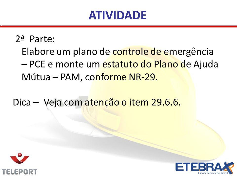 ATIVIDADE 2ª Parte: Elabore um plano de controle de emergência – PCE e monte um estatuto do Plano de Ajuda Mútua – PAM, conforme NR-29. Dica – Veja co