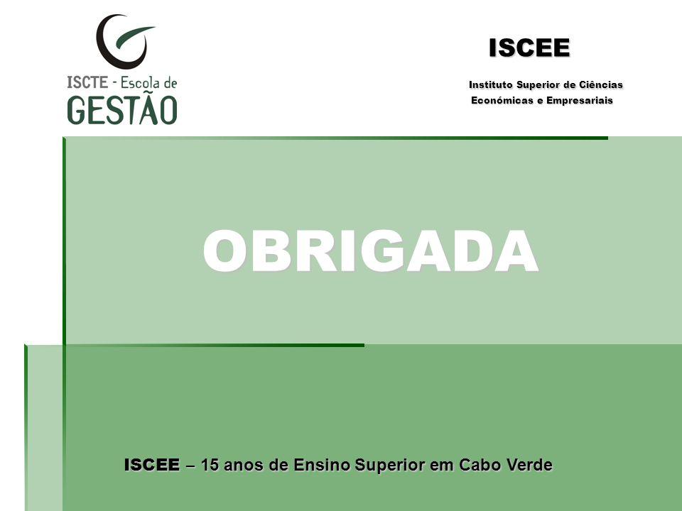 OBRIGADA ISCEE Instituto Superior de Ciências Económicas e Empresariais ISCEE – 15 anos de Ensino Superior em Cabo Verde