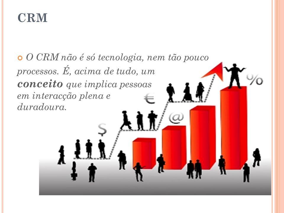 CRM O CRM não é só tecnologia, nem tão pouco processos. É, acima de tudo, um conceito que implica pessoas em interacção plena e duradoura.