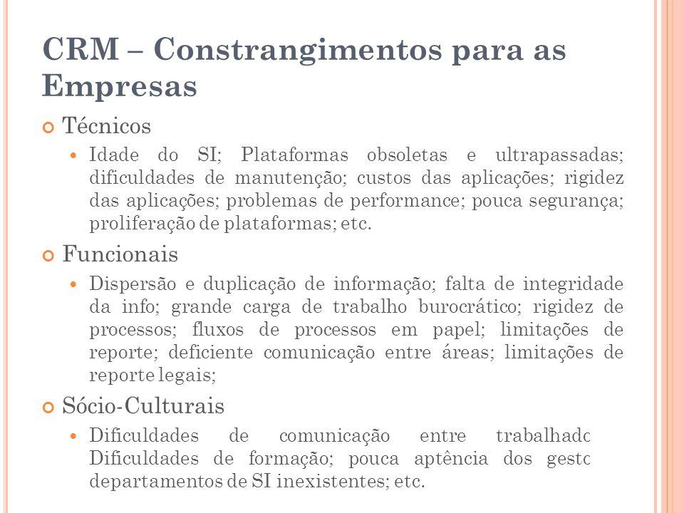 CRM – Constrangimentos para as Empresas Técnicos  Idade do SI; Plataformas obsoletas e ultrapassadas; dificuldades de manutenção; custos das aplicaçõ