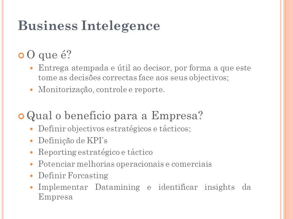 Business Intelegence O que é?  Entrega atempada e útil ao decisor, por forma a que este tome as decisões correctas face aos seus objectivos;  Monito