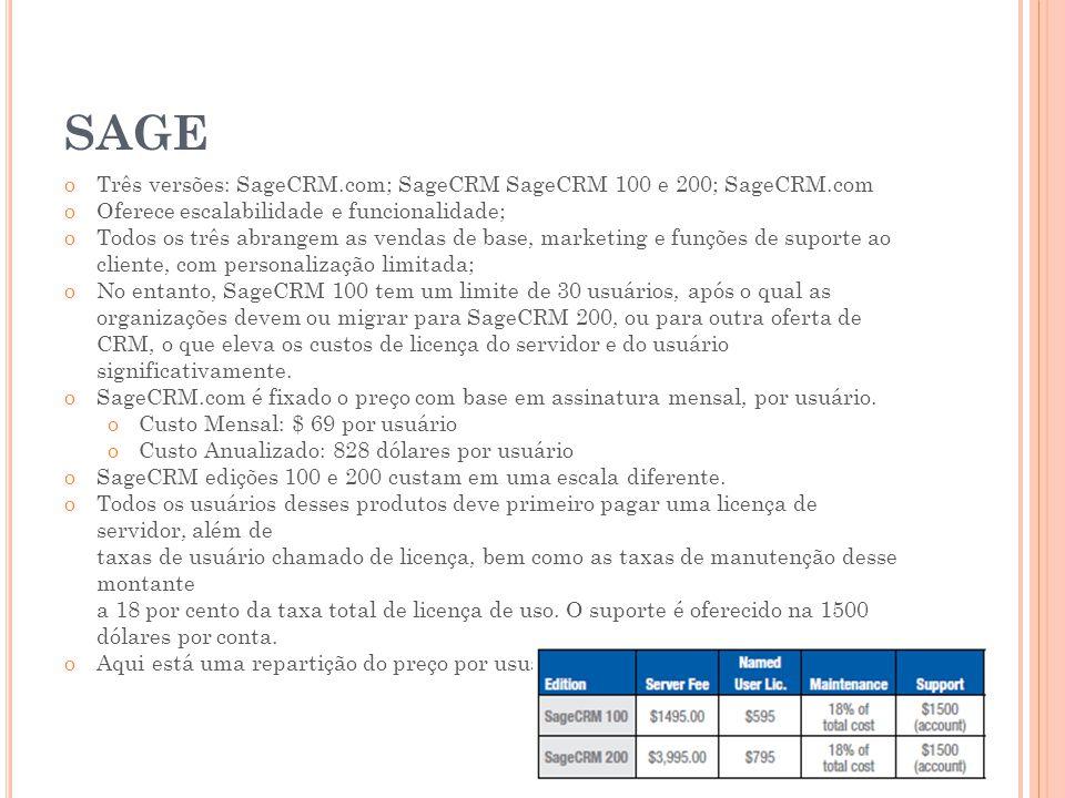 SAGE oTrês versões: SageCRM.com; SageCRM SageCRM 100 e 200; SageCRM.com oOferece escalabilidade e funcionalidade; oTodos os três abrangem as vendas de