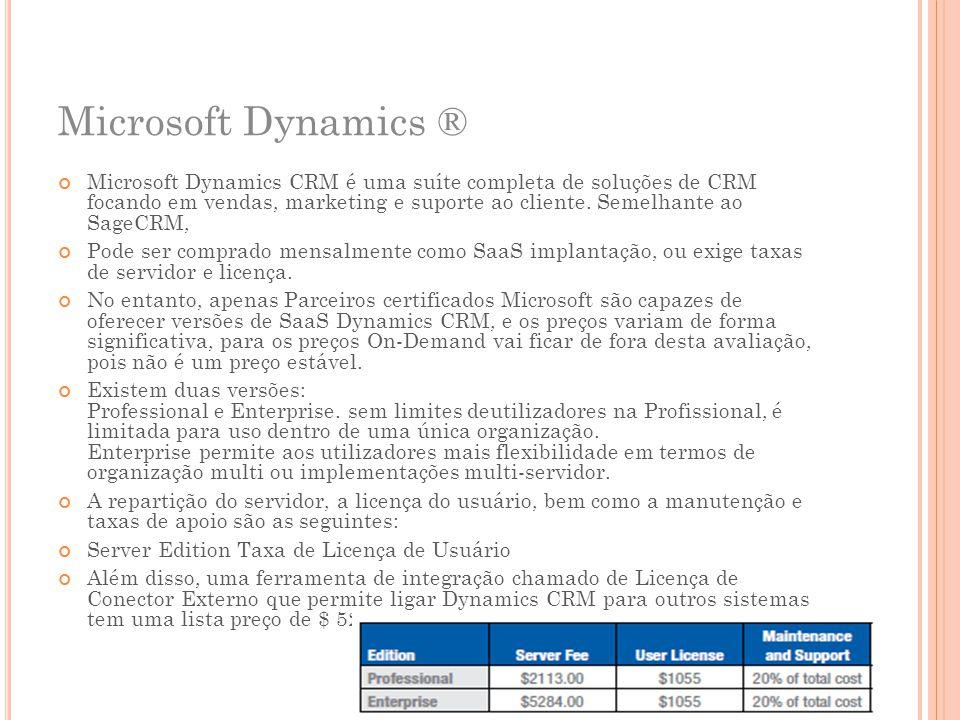 Microsoft Dynamics ® Microsoft Dynamics CRM é uma suíte completa de soluções de CRM focando em vendas, marketing e suporte ao cliente. Semelhante ao S