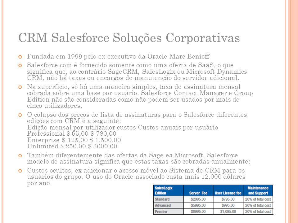 CRM Salesforce Soluções Corporativas Fundada em 1999 pelo ex-executivo da Oracle Marc Benioff Salesforce.com é fornecido somente como uma oferta de Sa
