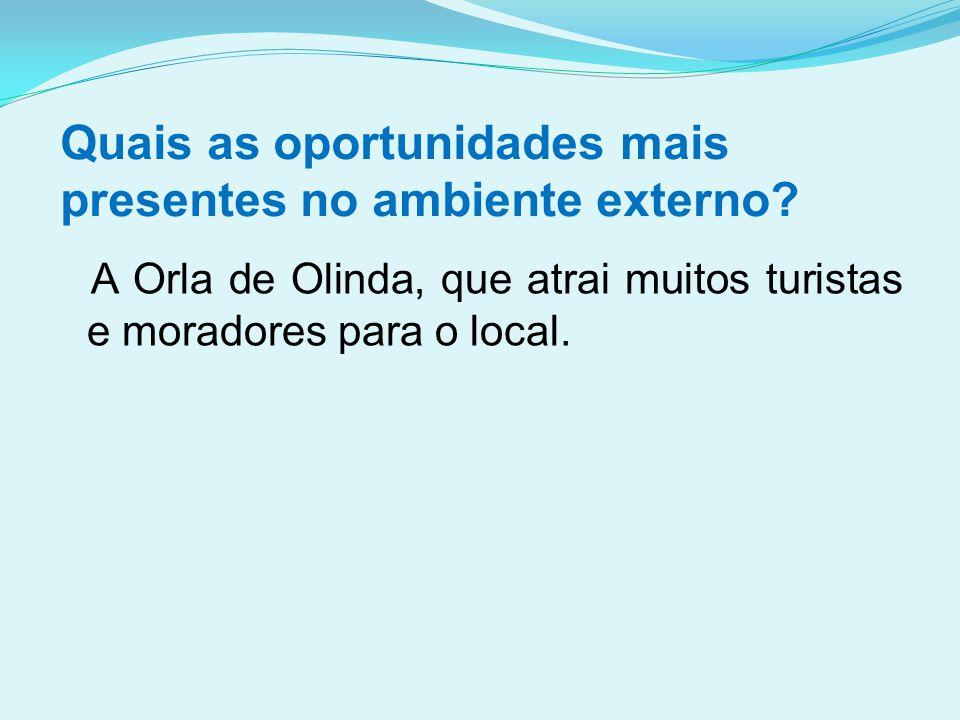 Quais as oportunidades mais presentes no ambiente externo? A Orla de Olinda, que atrai muitos turistas e moradores para o local.