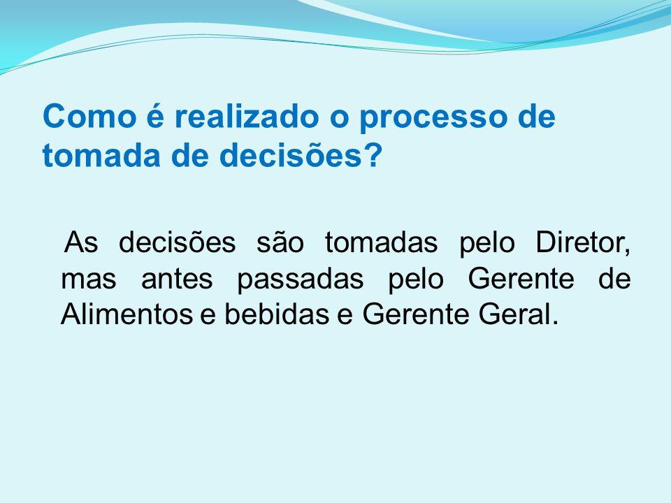 Como é realizado o processo de tomada de decisões? As decisões são tomadas pelo Diretor, mas antes passadas pelo Gerente de Alimentos e bebidas e Gere