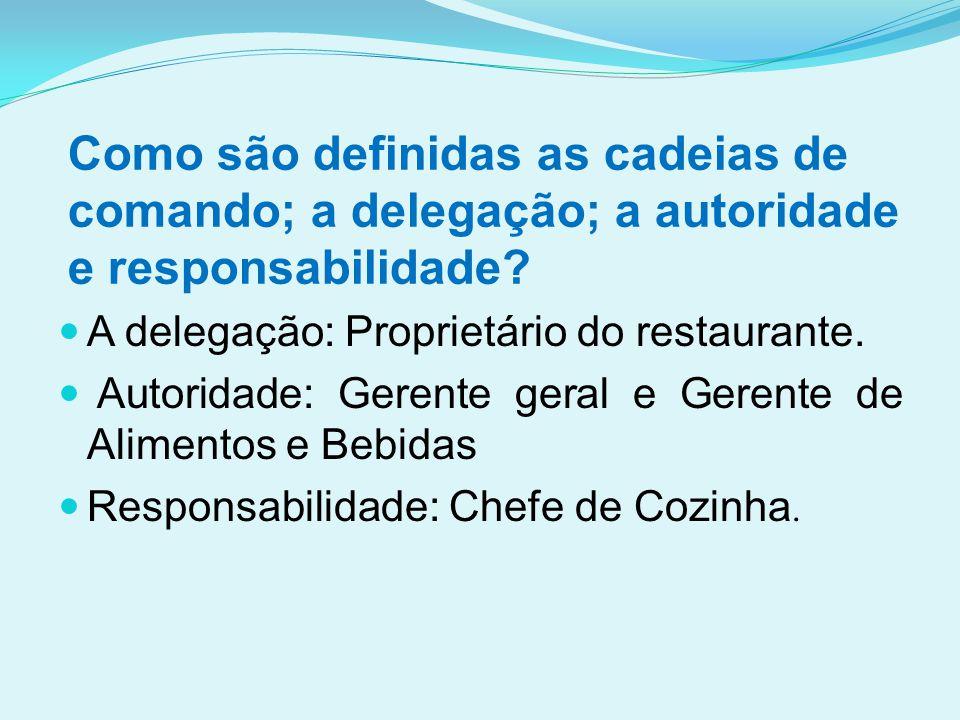 Como são definidas as cadeias de comando; a delegação; a autoridade e responsabilidade?  A delegação: Proprietário do restaurante.  Autoridade: Gere