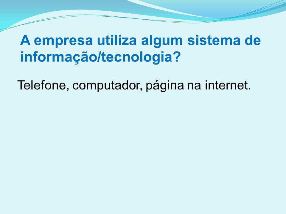A empresa utiliza algum sistema de informação/tecnologia? Telefone, computador, página na internet.