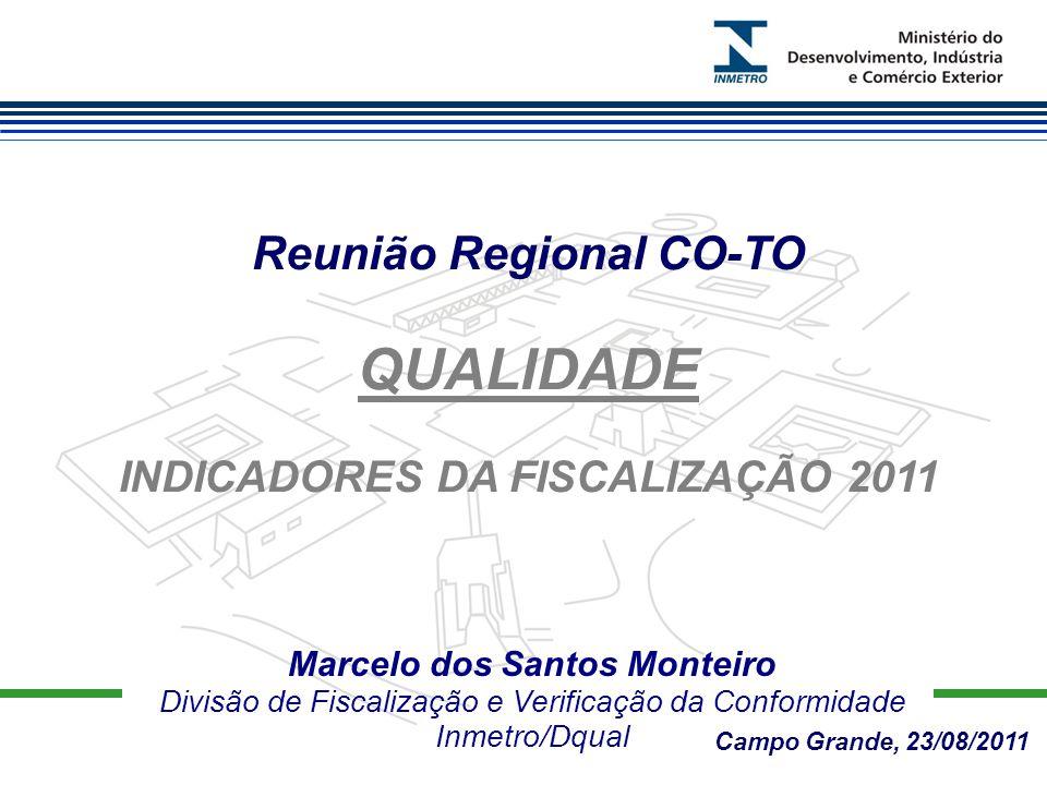 Marcelo dos Santos Monteiro Divisão de Fiscalização e Verificação da Conformidade Inmetro/Dqual Reunião Regional CO-TO QUALIDADE INDICADORES DA FISCALIZAÇÃO 2011 Campo Grande, 23/08/2011