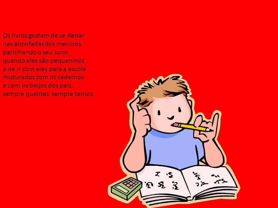 Os livros gostam de se deitar nas almofadas dos meninos partilhando o seu sono quando eles são pequeninos e de ir com eles para a escola misturados com os cadernos e com os beijos dos pais, sempre quentes, sempre ternos.