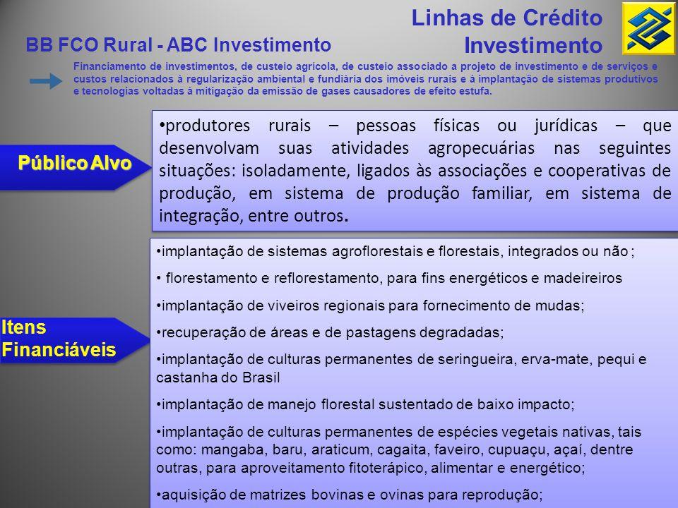 BB FCO Rural - ABC Investimento Linhas de Crédito Investimento Financiamento de investimentos, de custeio agrícola, de custeio associado a projeto de