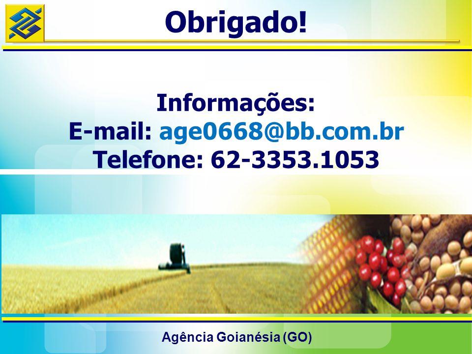 Agência Goianésia (GO) Obrigado! Informações: E-mail: age0668@bb.com.br Telefone: 62-3353.1053
