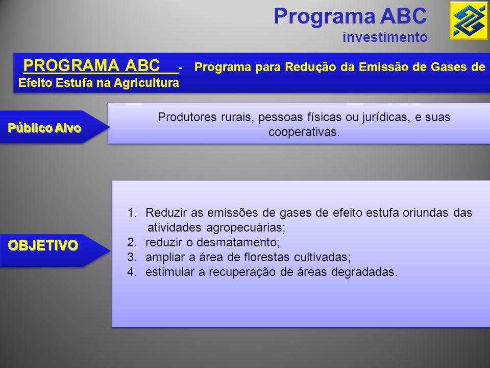 Programa ABC Investimento PROGRAMA ABC - Programa para Redução da Emissão de Gases de Efeito Estufa na Agricultura FINALIDADE 1.recuperação de áreas e pastagens degradadas; 2.implantação de sistemas de integração lavoura- pecuária, lavoura-floresta, pecuária-floresta ou lavoura-pecuária- floresta; 3.implantação e melhoramento de sistemas de plantio direto na palha ; 4.implantação de sistemas orgânicos de produção agropecuária; 5.implantação, manutenção e melhoramento do manejo de florestas comerciais, inclusive aquelas destinadas ao uso industrial ou à produção de carvão vegetal (ABC Florestas); 1.recuperação de áreas e pastagens degradadas; 2.implantação de sistemas de integração lavoura- pecuária, lavoura-floresta, pecuária-floresta ou lavoura-pecuária- floresta; 3.implantação e melhoramento de sistemas de plantio direto na palha ; 4.implantação de sistemas orgânicos de produção agropecuária; 5.implantação, manutenção e melhoramento do manejo de florestas comerciais, inclusive aquelas destinadas ao uso industrial ou à produção de carvão vegetal (ABC Florestas);