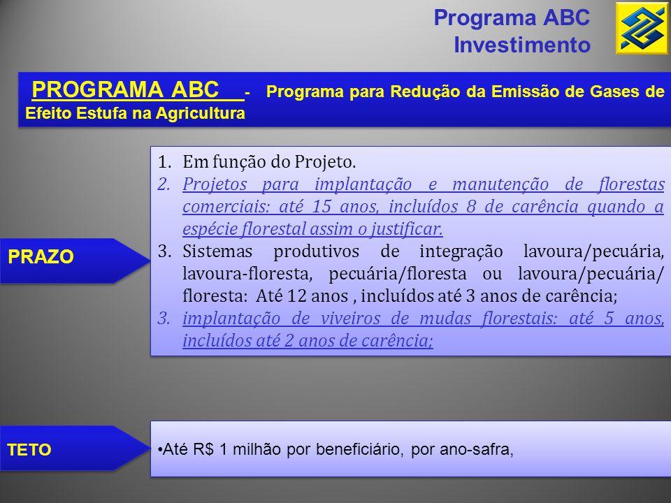 •Até R$ 1 milhão por beneficiário, por ano-safra, Programa ABC Investimento PROGRAMA ABC - Programa para Redução da Emissão de Gases de Efeito Estufa