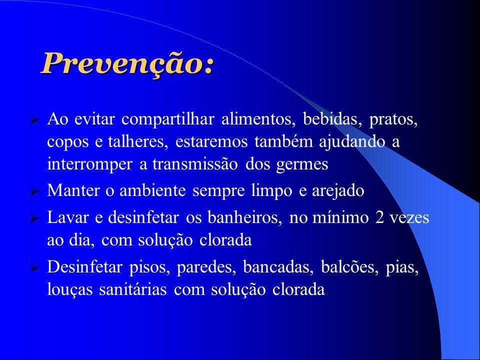 Prevenção:  Ao evitar compartilhar alimentos, bebidas, pratos, copos e talheres, estaremos também ajudando a interromper a transmissão dos germes  M