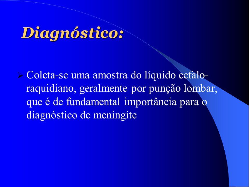 Diagnóstico:  Coleta-se uma amostra do líquido cefalo- raquidiano, geralmente por punção lombar, que é de fundamental importância para o diagnóstico