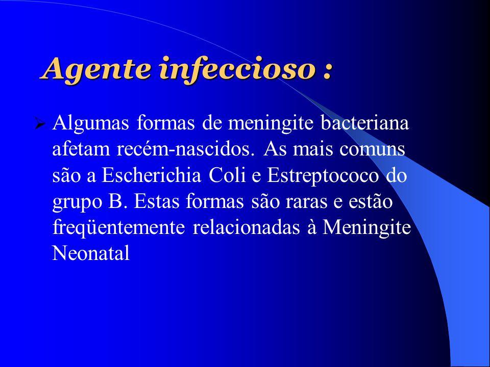 Agente infeccioso :  Algumas formas de meningite bacteriana afetam recém-nascidos. As mais comuns são a Escherichia Coli e Estreptococo do grupo B. E
