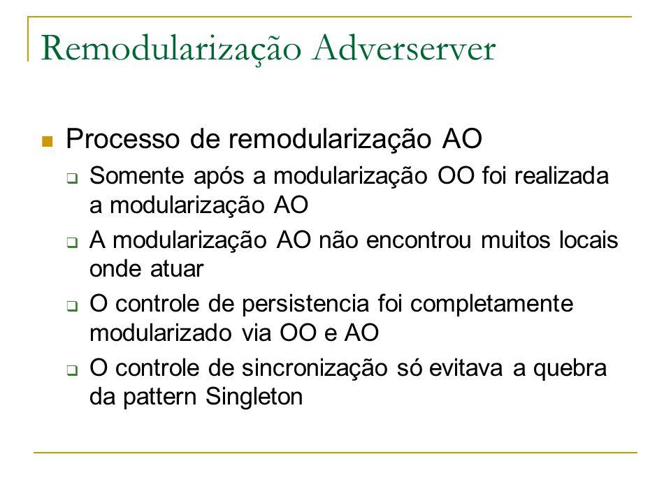 Remodularização Adverserver  Processo de remodularização AO  Somente após a modularização OO foi realizada a modularização AO  A modularização AO não encontrou muitos locais onde atuar  O controle de persistencia foi completamente modularizado via OO e AO  O controle de sincronização só evitava a quebra da pattern Singleton