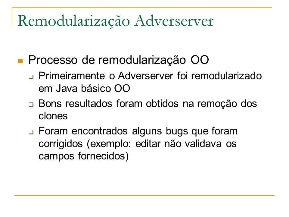 Remodularização Adverserver  Processo de remodularização OO  Primeiramente o Adverserver foi remodularizado em Java básico OO  Bons resultados foram obtidos na remoção dos clones  Foram encontrados alguns bugs que foram corrigidos (exemplo: editar não validava os campos fornecidos)