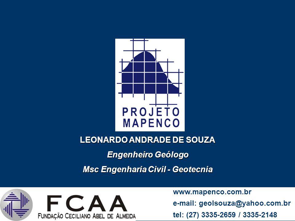 LEONARDO ANDRADE DE SOUZA Engenheiro Geólogo Msc Engenharia Civil - Geotecnia LTC UFES www.mapenco.com.br e-mail: geolsouza@yahoo.com.br tel: (27) 333