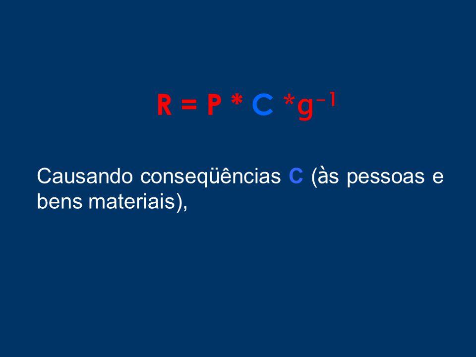 R = P * C *g -1 Causando conseq ü ências C ( à s pessoas e bens materiais),