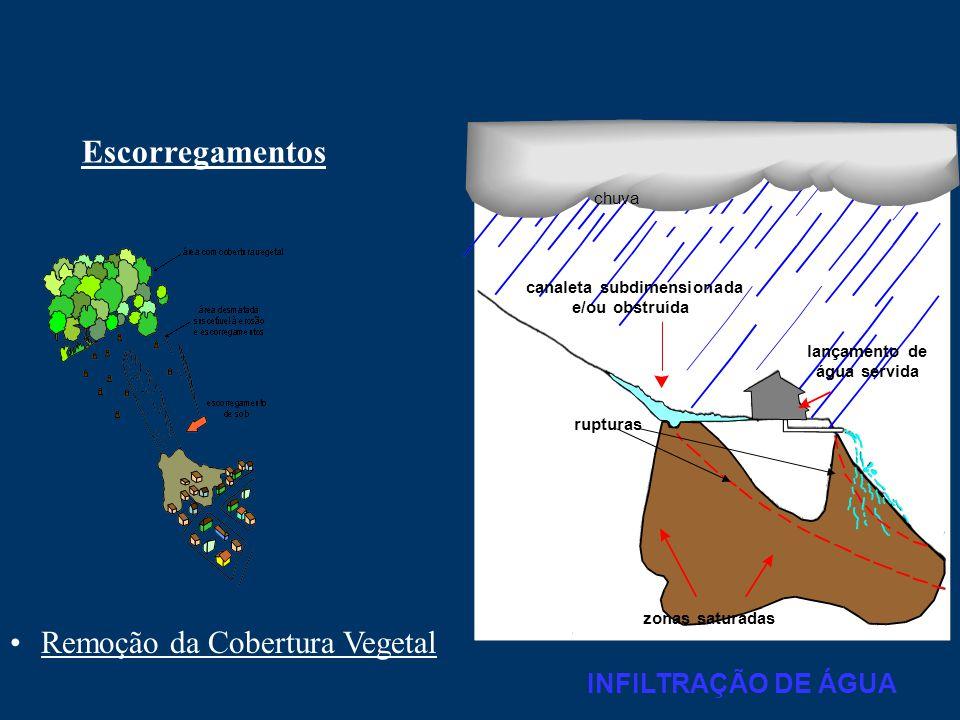 Escorregamentos •Remoção da Cobertura Vegetal zonas saturadas rupturas lançamento de água servida canaleta subdimensionada e/ou obstruída chuva INFILT